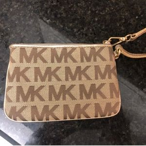 Gold & beige Michael Kors logo mini wristlet